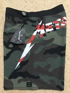 NWT BILLABONG ANDY IRONS FOREVER RISING SUN X METALLICA CAMOUFLAGE 36 SHORTS