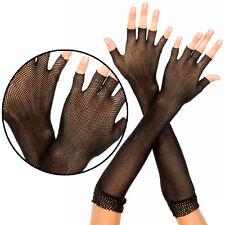 Sheer Black Goth Fishnet Fingerless Elbow Length Gloves Punk Gothic Arm Warmers