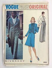 """Vogue Paris Original 2920 Pattern Givenchy Jacket, Blouse, Skirt &Pants Bust 38"""""""