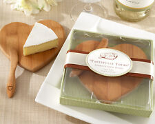 1 Tastefully Yours Heart Shaped Bamboo Cheese Board Wedding Favor Reception Gift