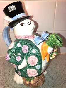 EASTER  Fitz & Floyd Bloomers Rabbit Bunny Pitcher Serving Teapot 1991 Fritz F&F