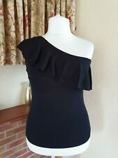 BLACK ONE SHOULDER FRILL KNITTED TOP FROM NEXT SIZE 14- SUMMER HOLIDAY £28