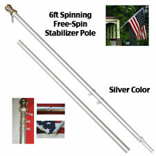 6ft Aluminum Spinning Tangle Free Stabilizer Flag Pole Silver Gold Ball w/ Flag