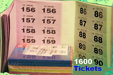 4 books of 400 raffle 1600 tickets cloakroom tombola 5 colours unique numbers