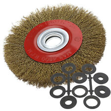 8'' ROUND Steel PLATED STEEL WIRE BRUSH WHEEL FOR BENCH GRINDER TOOLS
