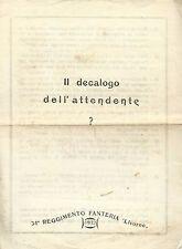 Il decalogo dell'Attendente - 1932 - Fossano 34° Reggimento Fanteria Livorno