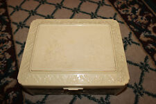 Vintage Chinese Japanese Bakelite Plastic Jewelry Trinket Box-Detailed Designs