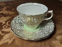 Vintage Colclough Bone China Teacup & Saucer (Chintz Mint Green & Gold) -England