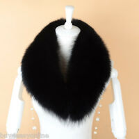 "Black Fox Fur Collar Detach Down Jacket Men Fur Scarf Women Wrap Shawl 31.5"" US"