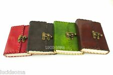 5x6 Handmade Leather Journal Sketchbookdiary with Lock Eco Paper 4 colors