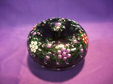 TRINKET JEWELRY BOX ROUND WOOD HAND MADE FLORAL STASH BOX THAILAND