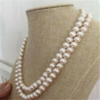 "9-10mm white round multi-layer pearl necklace 18-19"" Beads personality Luxury"