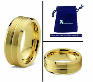 Free Engraving - Tungsten Carbide Gold Brush Shiny Groove Wedding Band Ring