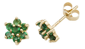 9ct Yellow Gold Emerald Daisy Cluster Stud Earrings - Solid 9K Gold