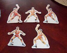 Basketball Red team 5 players tin Munro ,Gotham eagle ?  1940's - 50's ?