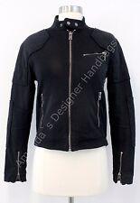 NWT $285 RALPH LAUREN Cropped Moto Jacket Women's XS X-SMALL Black Motorcycle