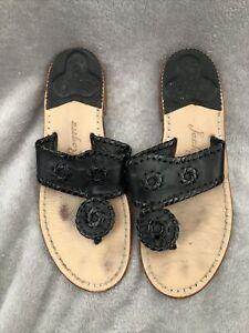 JACK ROGERS NAVAJO Black Leather Thongs Flip Flops Slide Sandals Womens 6 NICE