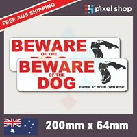 2x Beware Of The Dog Sign Sticker 200mm White Self Adhesive Warning Decal