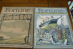 2 Fortune Magazines 1930 March April Great Ads Dodge Texaco Ringling Circus RR