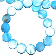 """MP1981 Blue 15mm Flat Puffed Round Coin Mother of Pearl Gemstone Shell Beads 16"""""""