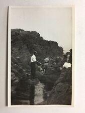 Vintage Real Photograph - #W - Men Fishing Rock Pools Jersey