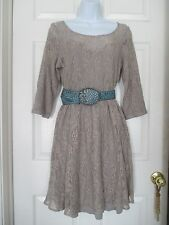 Free People taupe / tan Lace overlay dress Size M Anthropologie