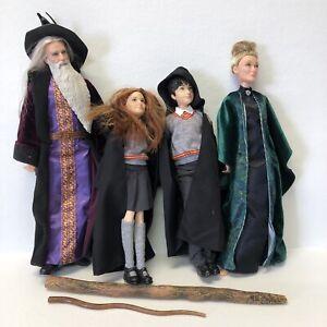 Harry Potter Ginny Dumbledore Minerva Figure Doll Lot 4 Dolls 2 Wands Bundle