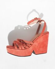 ROBERT CLERGERIE PLATFORM WEDGE SANDALS 6.5 $650 Pink Suede Shoes Chunky Heels