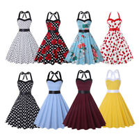 Womens 1950s Hepburn Vintage Halter Rockabilly Evening Prom Swing Dress S-3XL