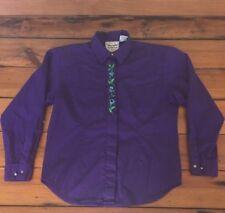 Vtg Wrangler Western Wear Rodeo Purple Embroidered Cotton Womens Dress Shirt XL