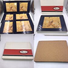 New Vintage Pimpernel Set Of 6 Peacock Cork Backed Placemats Boxed Rectangular