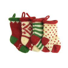 Small Knitted Yarn Christmas Stockings, Assorted, 5-Inch, 4-Piece