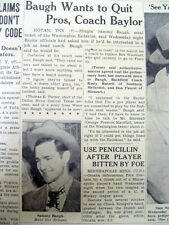 1950 newspaper WASHINGTON REDSKINS star Quarterback SAMMY BAUGH to QUIT FOOTBALL