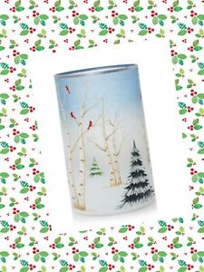 Yankee Candle PINES AND BIRCH Crackle Glass Cardinal Large Jar Candle Holder