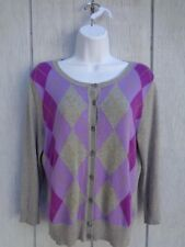 NEW YORK & COMPANY Sweater Cardigan Women's Missis Size M PLAID Knit knitted