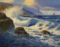 """A Curling Wave Seascape Blue New England Original Oil, Stretched Canvas 16""""x20"""""""