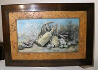 large antique 1886 original nautical underwater coral painting pastel drawing