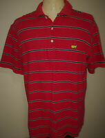 Masters Augusta National Mens Short Sleeve Golf Polo Shirt Large Red Striped