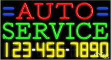 """NEW """"AUTO SERVICE"""" W/YOUR PHONE NUMBER 37x20 NEON SIGN W/CUSTOM OPTIONS 15043"""