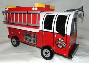 NEW RED FD. Hand Painted Fire Truck Mailbox Handpainted Firetruck Mail Box.