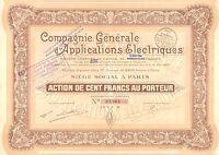 Compagnie Generale d` Applications Electriques SA, accion, 1929 (Siege: Paris)