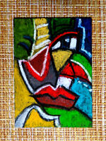 ACEO original pastel painting outsider folk art brut #010313 abstract surreal