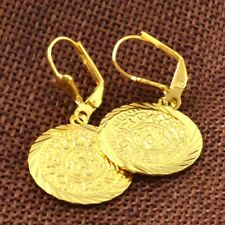 Graceful 14k Yellow Gold Filled Earrings Engagement Jewelry Coin shape Free Ship