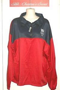 USA Olympic Committee London 2012 Sweatshirt OFFICIAL Red Blue Zip Sz XXXL *VG++