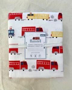 Pottery barn Kids Wyatt Firetruck Organic sheet Set Flannel Queen red navy white