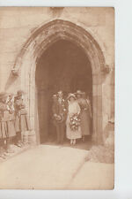 1930's?  Wedding postcard with Girl Guides as Honour Guard