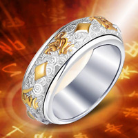 Rotating Band Ring Gold Silver Buddhist Religious Mantra Jewelry