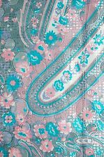 "5 YARDS & 32"" PAISLEY FLORAL SILKY POLYESTER FABRIC MADE IN JAPAN MTC GREY PINK"
