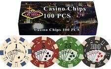 100 Poker Chips Gamble Casino New Las Vegas Gift Box Poker Chips High Quality