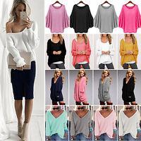 Women Casual Long Sleeve Knit Pullover Loose Sweater Jumper Tops Blouse Knitwear